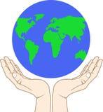 Globe. Hand holding a globe - vector illustration Stock Photos