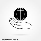Globe in hand icon Stock Photography