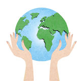 globe with hand recycled paper craft Royalty Free Stock Photos