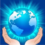 Globe in hands Royalty Free Stock Images