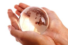 Globe in the hands Stock Photo