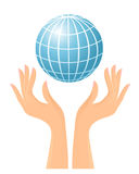 Globe and hands. Vector-Illustration Royalty Free Stock Photography