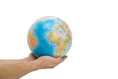 The globe on hands royalty free stock photo