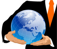 Globe in Hands. Europe stock photography