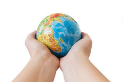 Globe in hands Stock Image