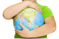Globe in hands - protection concept Stock Image