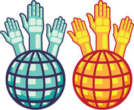 Globe and Hands Up vector. File eps Royalty Free Stock Photo