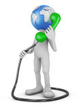 Globe with  handset. Man with globe head with the handset. 3d rendering Royalty Free Stock Image