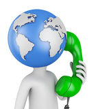 Globe with  handset. Man with globe head with the handset. 3d rendering Royalty Free Stock Photography