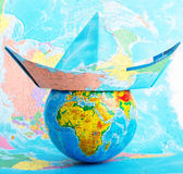 Globe with hat from map Royalty Free Stock Photo