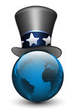 Globe in the hat. Vector illustration. On white background Royalty Free Stock Photography