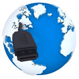 Globe with HDMI cable Royalty Free Stock Photo