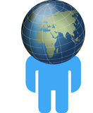 Globe head man. Iconic image of man with a globe as a head royalty free illustration