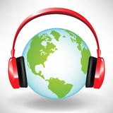 Globe and head phones Stock Images