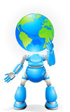 Globe head robot concept Stock Photo