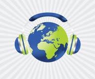 Globe with headphone Stock Photography