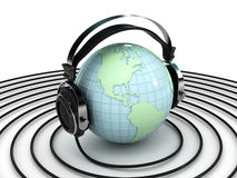 Globe and headphone Stock Images