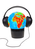 Globe in headphone Stock Image
