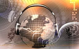 Globe with headphone Stock Photos