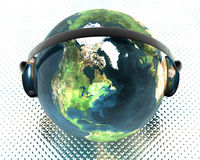 Globe with headphone Royalty Free Stock Photography