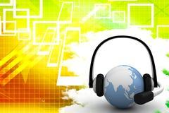 Globe With Headphone Communication Illustration Royalty Free Stock Photography