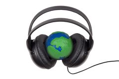 Globe headphones Royalty Free Stock Image