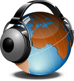 Globe with headphones Stock Images
