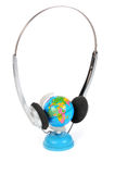Globe with headphones Stock Image