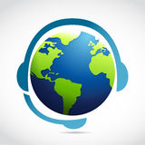 Globe with headphones illustration design Stock Photos