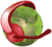 Globe with headset. And microphone Stock Photo