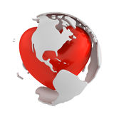 Globe with heart, America part Stock Photo
