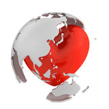 Globe with heart, Asian part Royalty Free Stock Photos