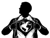 Globe Heart Business Superhero Tearing Shirt Chest Stock Photography