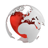 Globe with heart, Europe part Royalty Free Stock Photography
