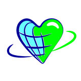 Globe heart  icons concept idea. On white background Royalty Free Stock Photo