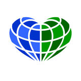 Globe heart  icons concept idea. On white background Stock Photo