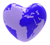 Globe Heart Indicates Valentine Day And Globalisation Stock Image