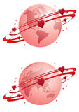 Globe and hearts Royalty Free Stock Photo