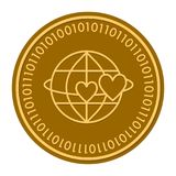 Globe with hearts golden digital coin icon. Vector style. gold yellow flat coin cryptocurrency symbol. isolated on white. Eps 10 Royalty Free Stock Photography
