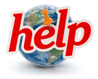 Globe and help (clipping path included) Stock Photography