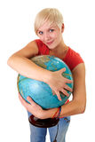Globe in her arms Royalty Free Stock Photography