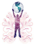 Globe Holder. Sketchy silhouette of man holding globe with paisley. All elements separated Royalty Free Stock Images
