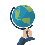 Globe holding in hands. Men. Protect the environment concept. Isolated Globe, planet, earth, in hand. Vector illustration of a flat design Royalty Free Stock Photo