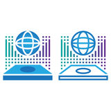 Globe hologram line icon, outline and solid vector sign, linear Royalty Free Stock Photo
