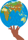 Globe in human hand on white vector illustration
