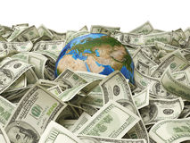 Globe and hundred dollar Stock Image