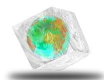 Globe in ice cube Stock Photos