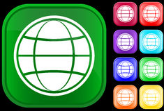 Globe icon. On shiny square buttons Stock Photography