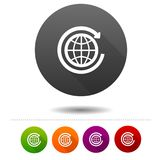 Globe icon. Arrow round the World symbol sign. Web Button. Eps10 Vector Stock Images