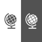 Globe icon on black and white background. Isolated globe icon on black and white background Stock Photos